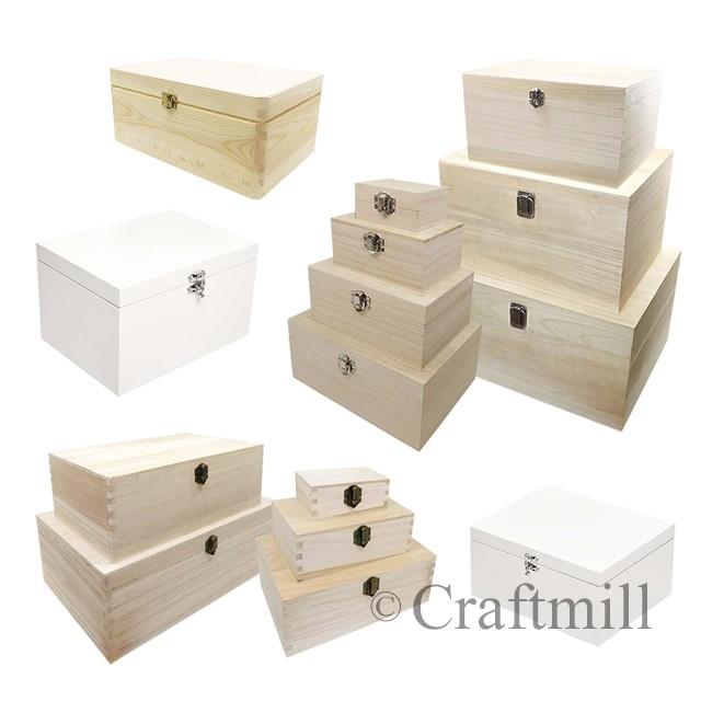 Plain-Wood-Wooden-Rectangular-Hinged-Storage-amp-Christmas-Eve-Boxes-choose-size