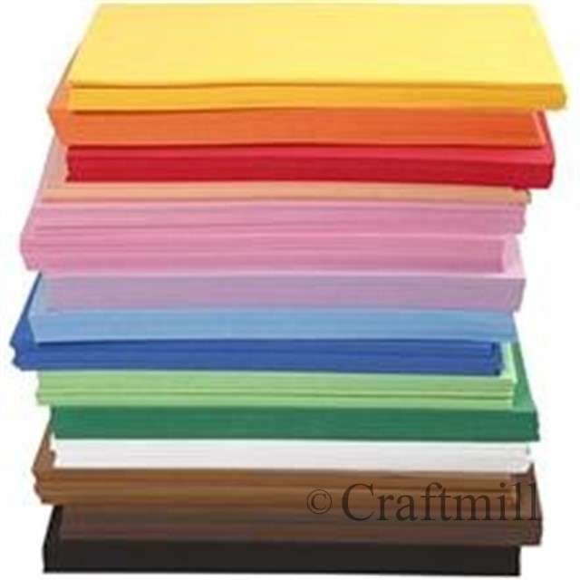Pack of 10 eva funky foam sheets a4 choose colour kids for Red craft foam sheets