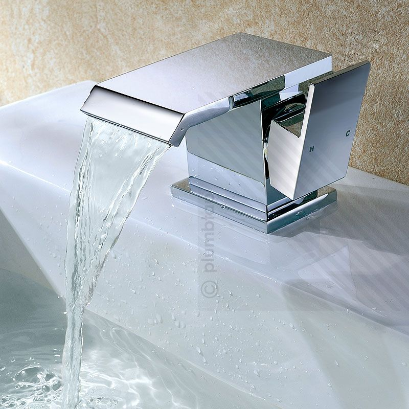 wide waterfall bathroom basin mixer tap in chrome includes waste