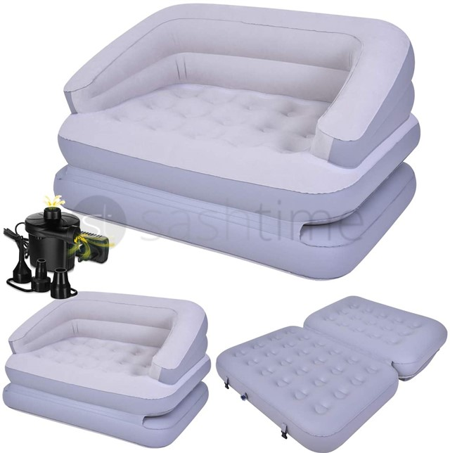 NEW 5 In 1 INFLATABLE DOUBLE SOFA COUCH LOUNGER MATTRESS