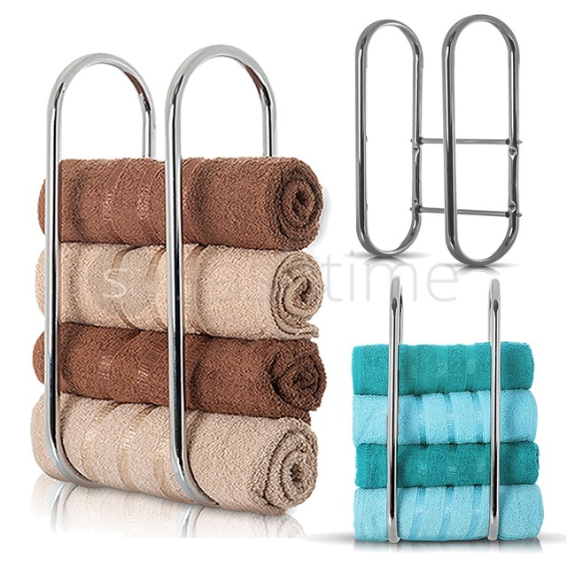 Brilliant  Mounted Towel Rack Hotel Bathroom Storage Holder Rack Shelf Bar Chrome
