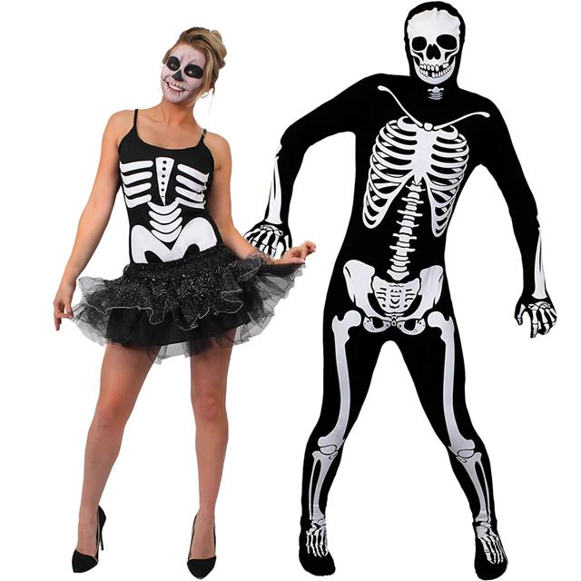 paar skelett verkleidung kost m herren k rperanzug damen tutu outfit halloween ebay. Black Bedroom Furniture Sets. Home Design Ideas