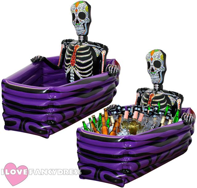Inflatable cooler shaped like a coffin. Just inflate, fill with ice, throw in cans or bottles of your favorite drinks and let the party begin. 52 long.