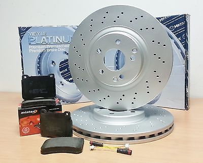 for mercedes c class w203 front platinum drilled brake discs pads brembo type ebay. Black Bedroom Furniture Sets. Home Design Ideas