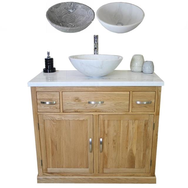 Bathroom Vanity Unit Oak Cabinet Wash Stand White Marble Top Stone Basi