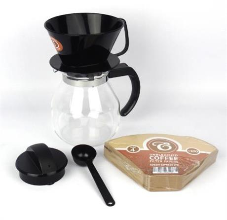1 litre / 4 Cup Filter Coffee Maker Jug Set Hand Dripper Brewer Machine eBay