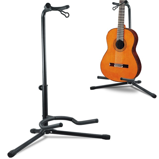 telescopic guitar stand acoustic electric bass adjustable. Black Bedroom Furniture Sets. Home Design Ideas