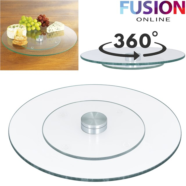 TEMPERED GLASS LAZY SUSAN ROTATING TURNTABLE SERVING TRAY ...