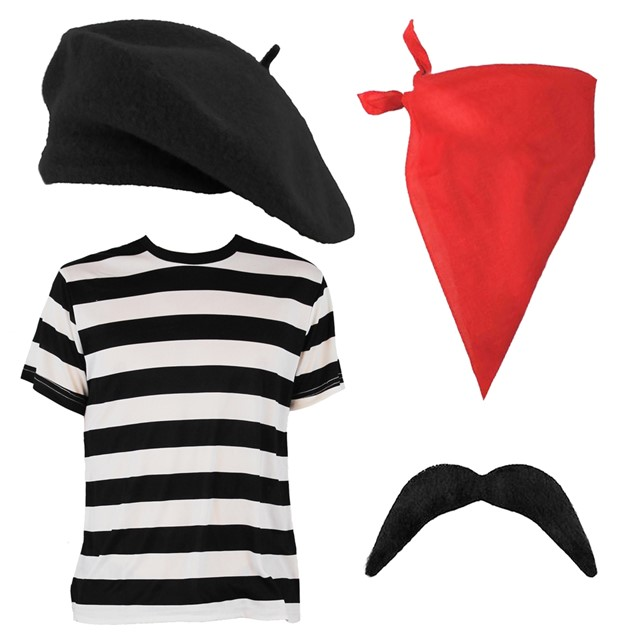 Adults french kit fancy dress ladies mens top beret for French striped shirt and beret