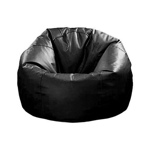 Xxl Extra Large Round Beanbag Chair Black Brown Leather Bean Bag Bags