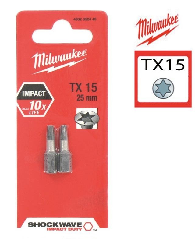 Milwaukee 4932352440 2 Pack TX15 Shockwave Screwdriver Bits 25mm Impact Rated