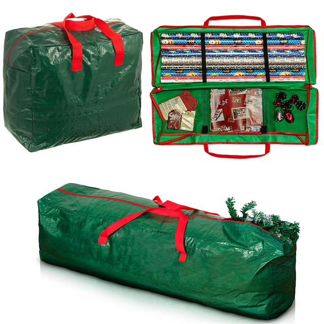 storage bag for christmas xmas tree or decoration lights zip up sack 7ft trees ebay. Black Bedroom Furniture Sets. Home Design Ideas