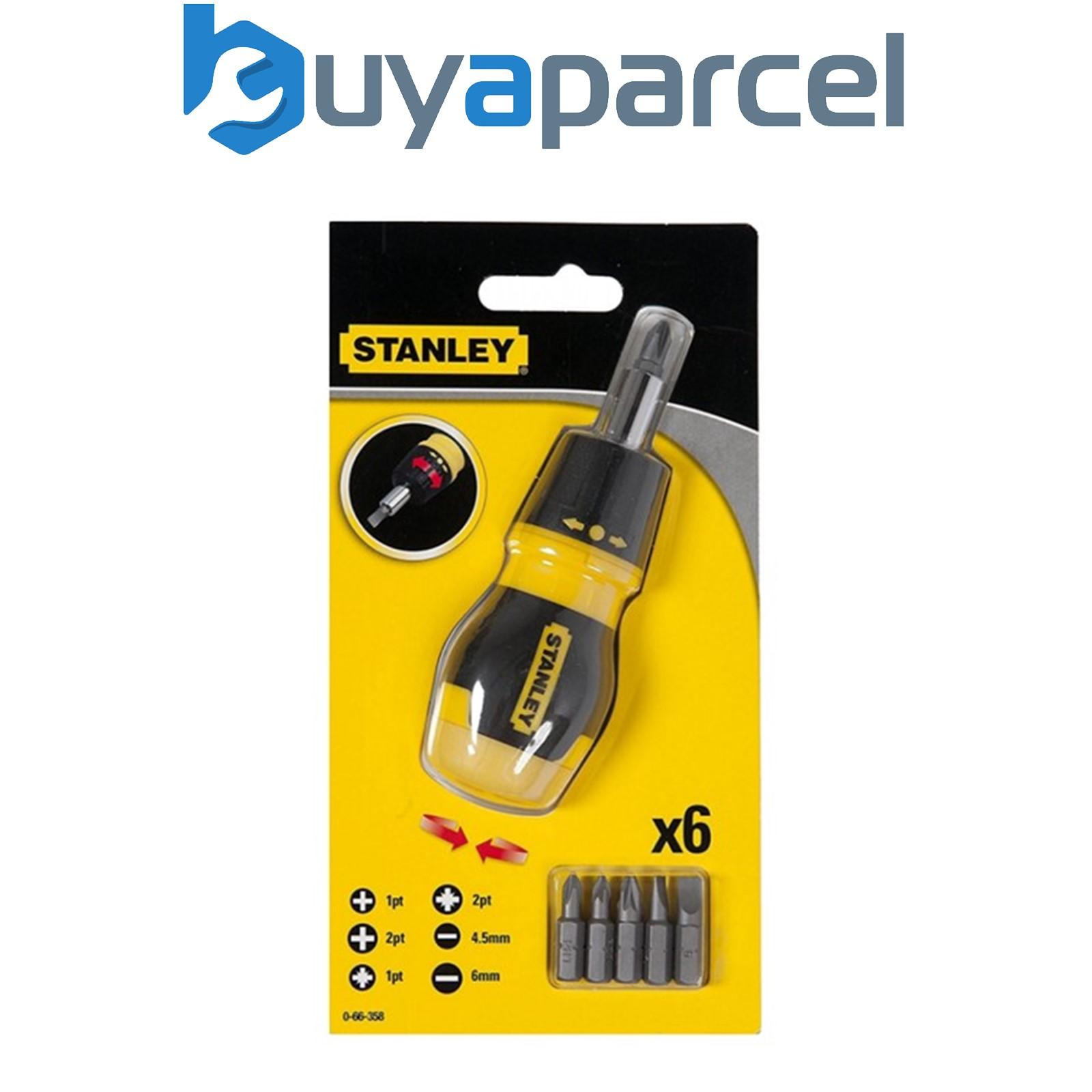 stanley sta066358 ratcheting stubby screwdriver bit set phillips pozi 0 66. Black Bedroom Furniture Sets. Home Design Ideas