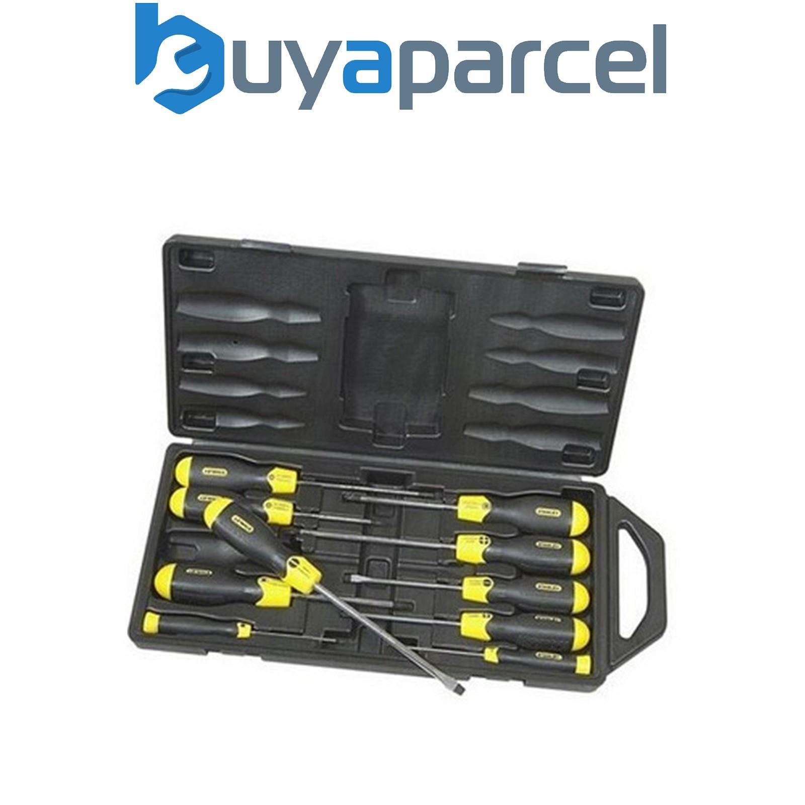 stanley cushion grip 10 screwdriver set magnetic tips sta265014 2 65 014 ebay. Black Bedroom Furniture Sets. Home Design Ideas