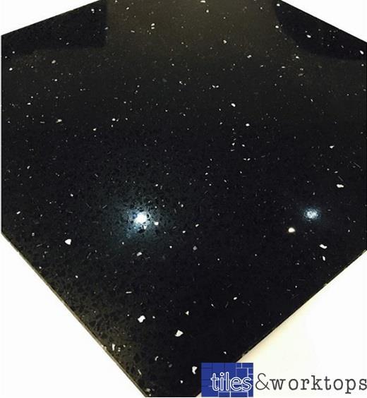 Sample Of Black Quartz Speckle Mirror Fleck Stardust Starlight Tiles