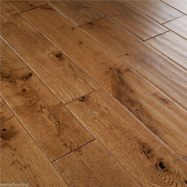 18mm x 125mm hand scraped tobacco golden oak solid for Real solid wood flooring