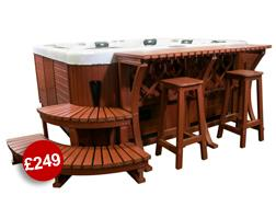 These luxury steps make access in and out of your hot tub real easy and they look fantastic with the bar stool package Note These are slightly taller