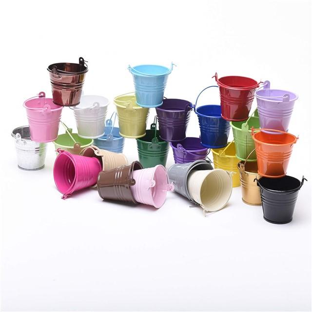 five 85cm metal buckets pots pails tins favours herb planter sweet tree