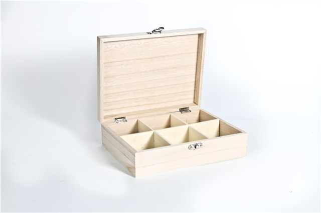 Plain-wood-wooden-TEA-bag-BOX-CHEST-3-6-9-or-12-compartments-fits-Twinings