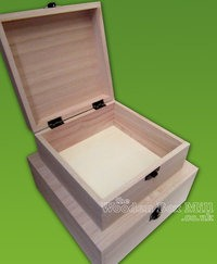 Plain-Wood-Wooden-Square-Hinged-Storage-Trinket-Boxes-choose-size-quantity