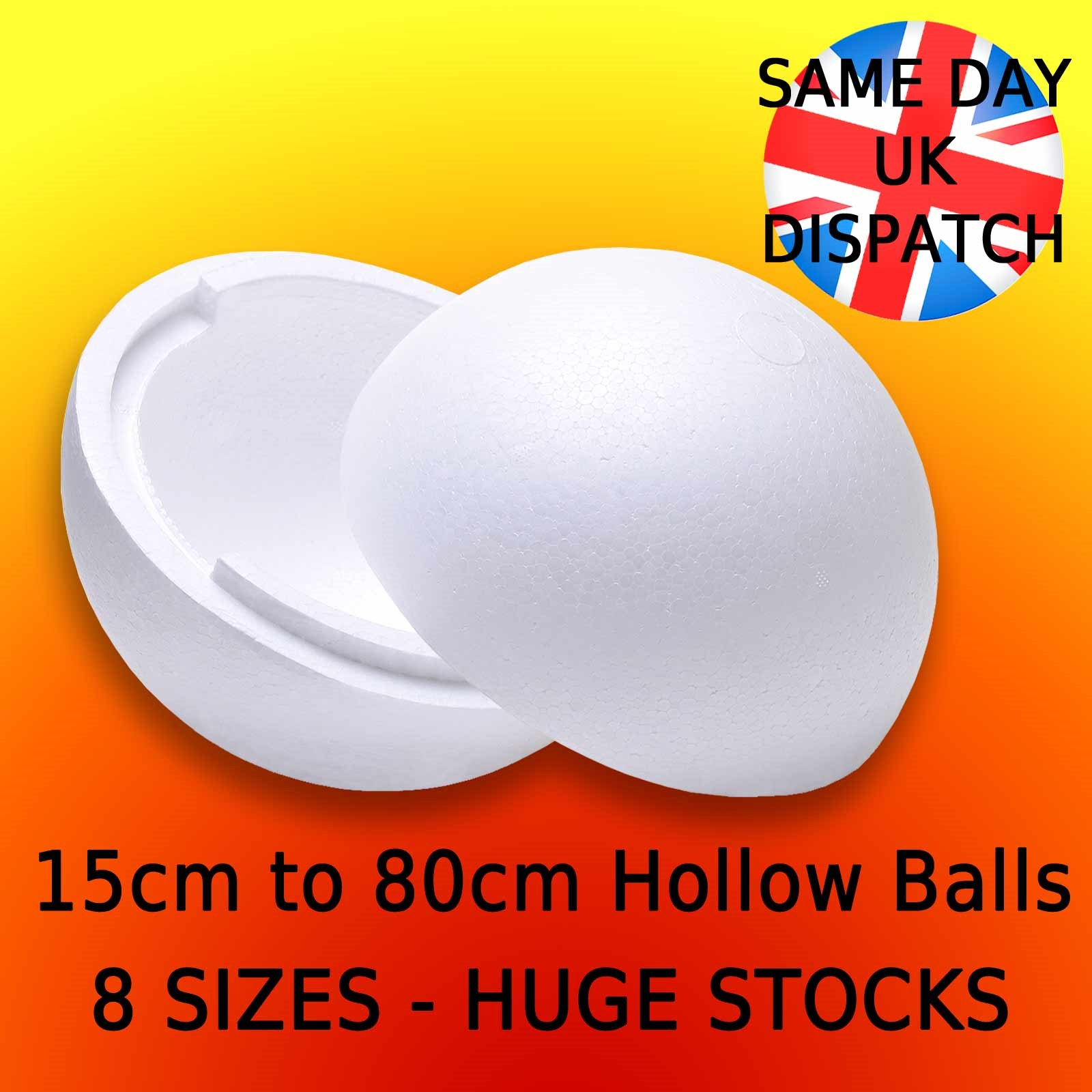 Details about LARGE Polystyrene Balls HOLLOW in 2 halves - 15cm to 80cm  Craft Props Christmas
