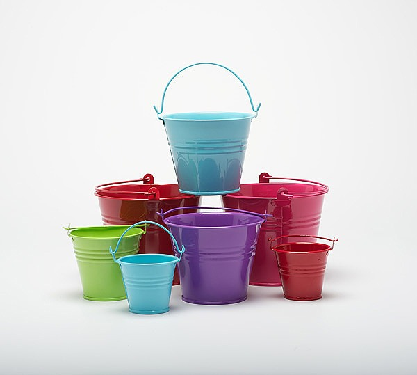 Five metal buckets pots pails tins favours herb for Small pail buckets