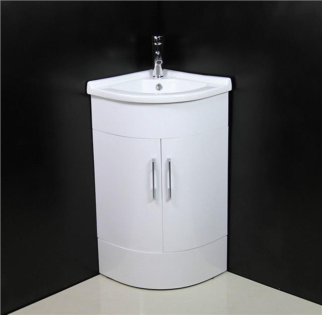 Bathroom vanity unit cabinet basin sink corner cloakroom for Floor standing corner bathroom cabinet
