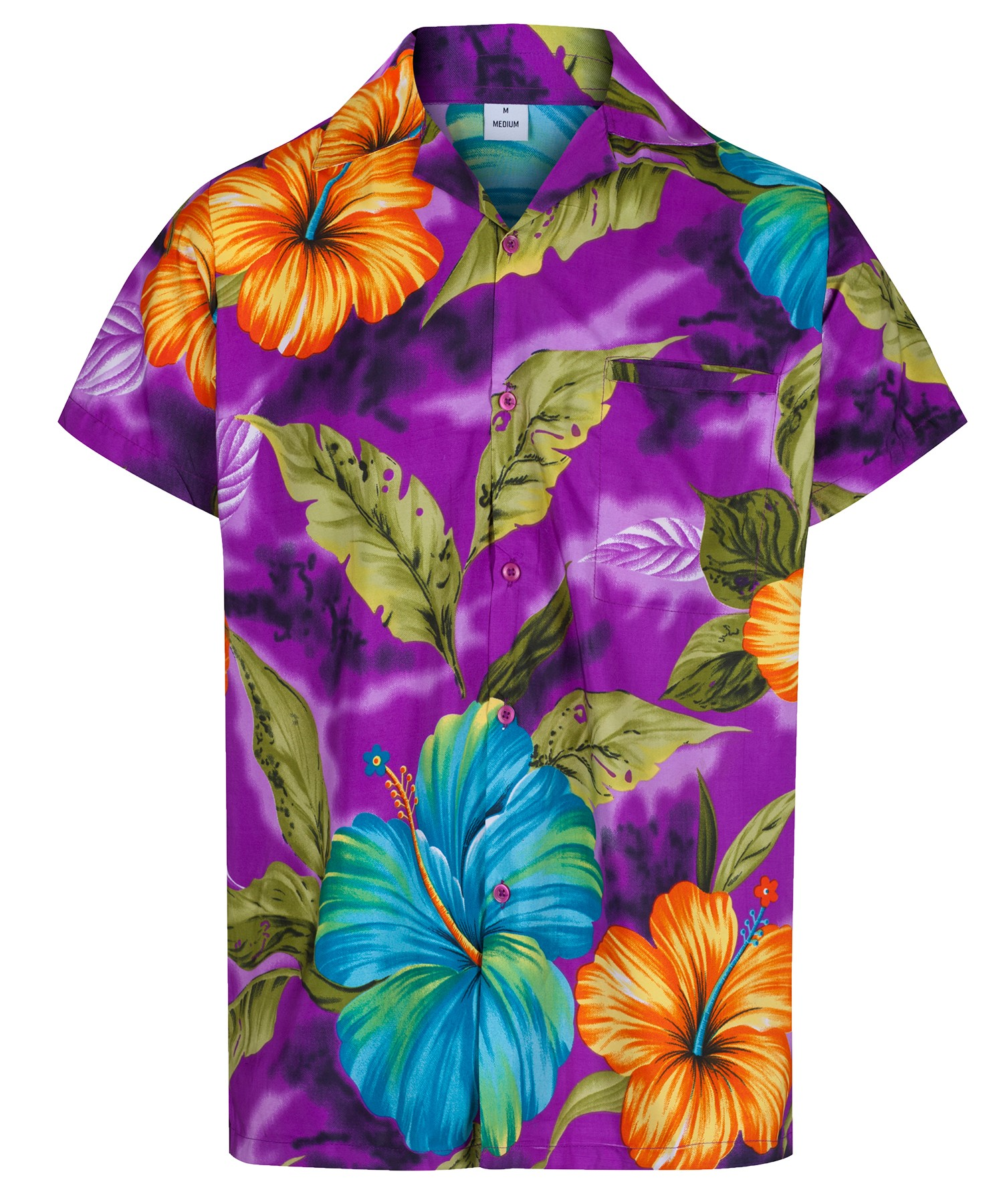 MENS HAWAIIAN SHIRT HIBISCUS THEMED PARTY HOLIDAY BEACH FANCY DRESS ...