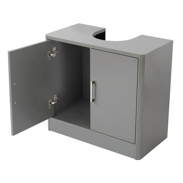 Sleek Grey White Gloss Bathroom Storage Unit Cupboard ...