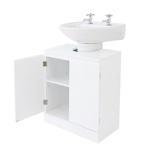 White Gloss Kitchen Cabinets Ebay: White High Gloss Bathroom Set Suite Cabinet Cupboard