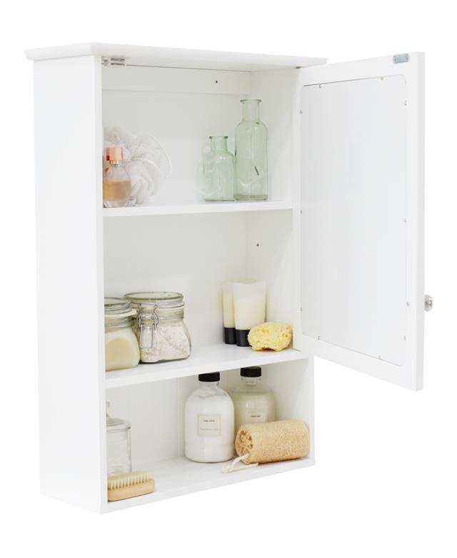 Single Mirror Bathroom Cabinet Cupboard Door Open Shelf ...