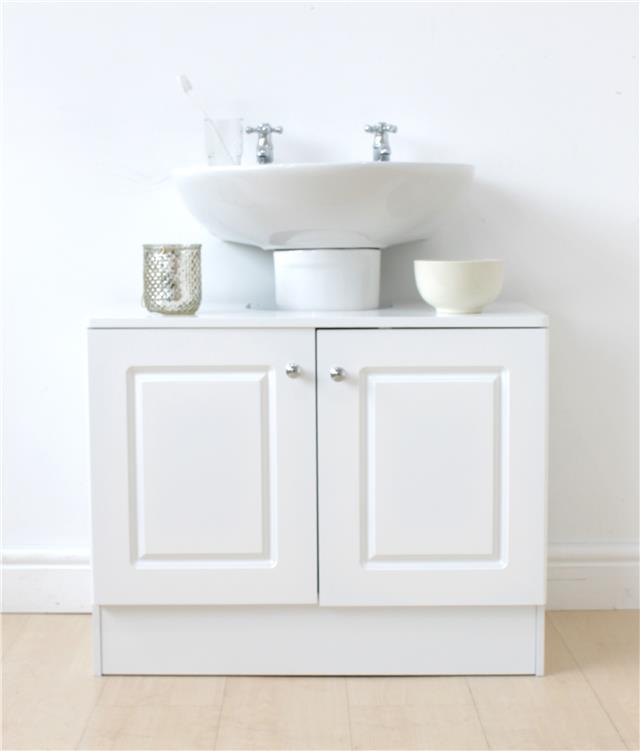 sports shoes 48faf d00a1 Details about White 2 Door Under Sink Bathroom Underbasin Storage Cabinet  Vanity Unit