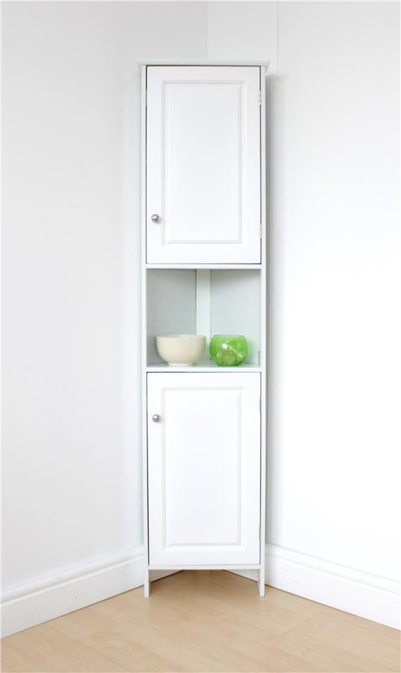 White Bathroom Corner Cabinet With Open Shelf Home Storage Solutions New 5016319261204 Ebay
