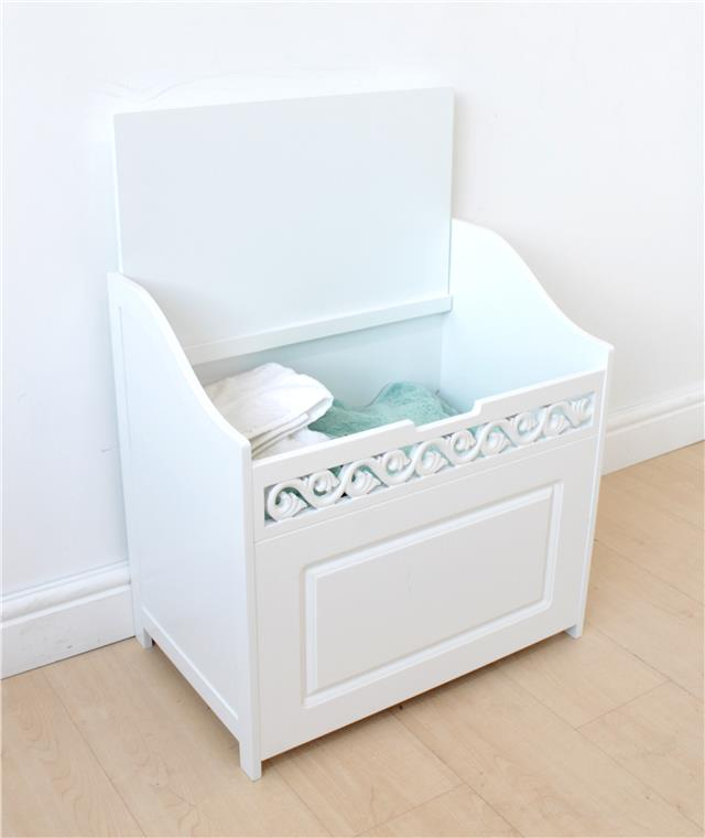 French Ottoman Hamper With Fret Cut Detail, Home, Bathroom, Storage Solutions