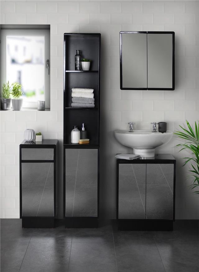 Black Mirrored Bathroom Furniture Range, Mirrored Bathroom Floor Cabinet