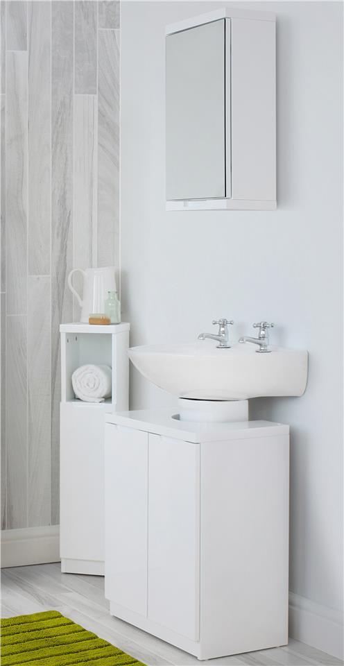 Bathroom Storage Part - 42: Grey-or-White-Gloss-Tall-Bathroom-Storage-Unit