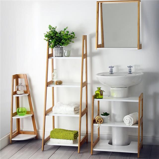 White & Bamboo Bathroom Range Suite Corner Shelving Ladder ...