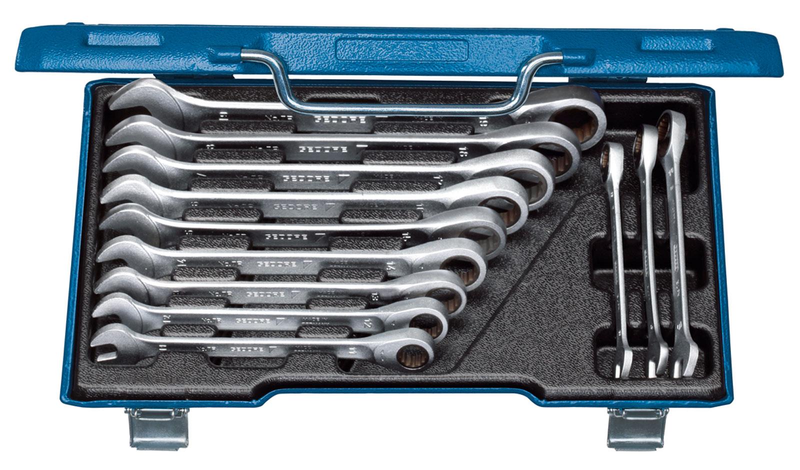 12 pc flexi-head socket open end spanner set métrique garage outil à main 8-19mm