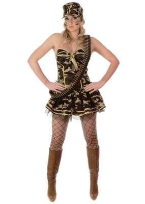 Ladies Army Commando Girl Fancy Dress Costume Camo Basque