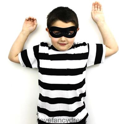 kids burglar robber striped black white top mask fancy