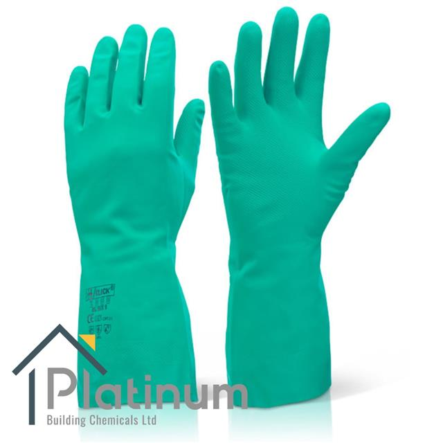 Ansell Alphatec 37-675 Chemical-Resistant Nitrile Gloves Green Size 6 Chemical and Food-handling work Pack of 12 pairs Gauntlets for Industrial