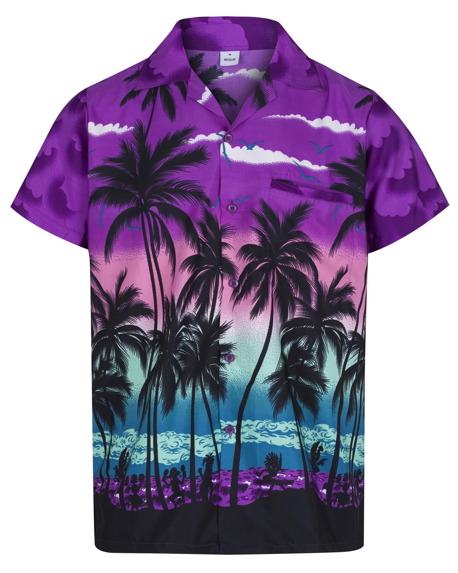 Da Uomo Arcobaleno Manica Corta Camicia Hawaiana Addio Al Celibato Spiaggia Vacanza Costume