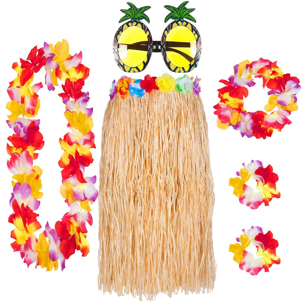 Pineapple Sunglasses /& 4pc Hula Lei Flower Garland Hawaiian Party Fancy Set