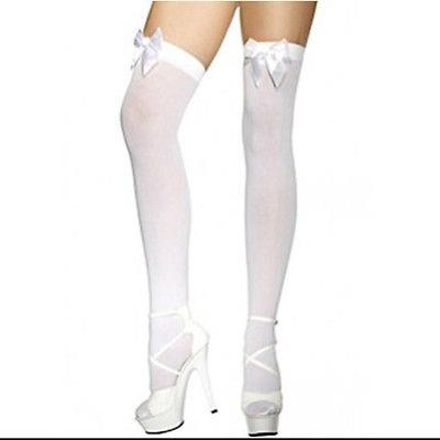 LADIES-OVER-THE-KNEE-SOCKS-STOCKINGS-THIGH-HIGH-WITH-BOWS-HOLD-UPS-ALL-COLOURS