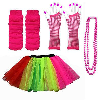 NEON-UV-TUTU-GLOVES-LEG-WARMERS-BEADS-1980S-FANCY-DRESS-HEN-PARTY-COSTUME