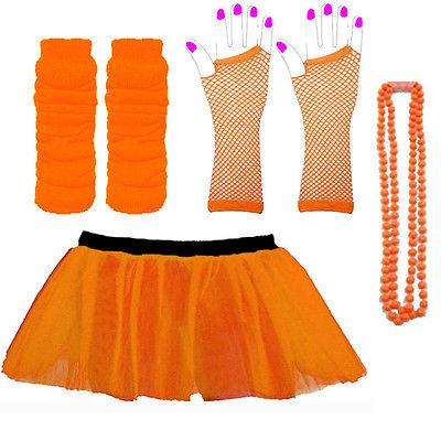 NEON-UV-Tutu-Guanti-Scaldamuscoli-Perline-anni80-Fancy-Dress-Costume-da-gallina