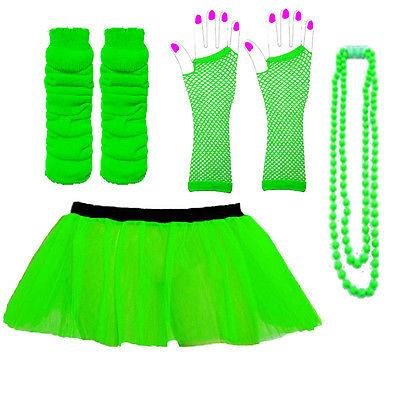 NEON-UV-TUTU-GLOVES-LEG-WARMERS-amp-BEADS-1980S-FANCY-DRESS-HEN-PARTY-COSTUME