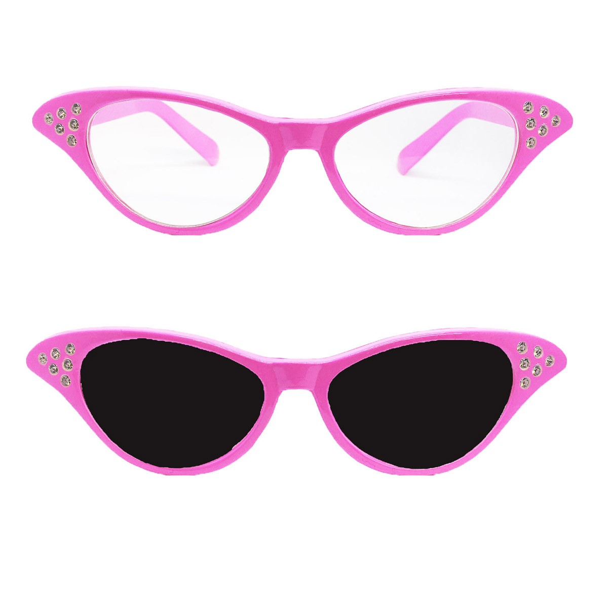 f012377fc6 Details about LADIES PINK GLASSES WITH DARK OR CLEAR LENSE 1950S 50s FANCY  DRESS ACCESSORY