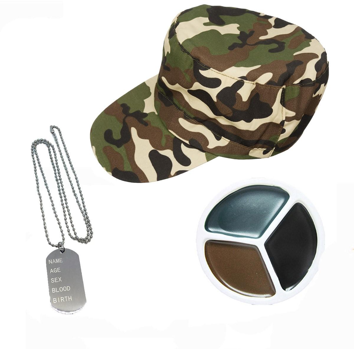 Adult Top Gun Instant Kit Unisex Hat Glasses Dog Tags Fancy Dress