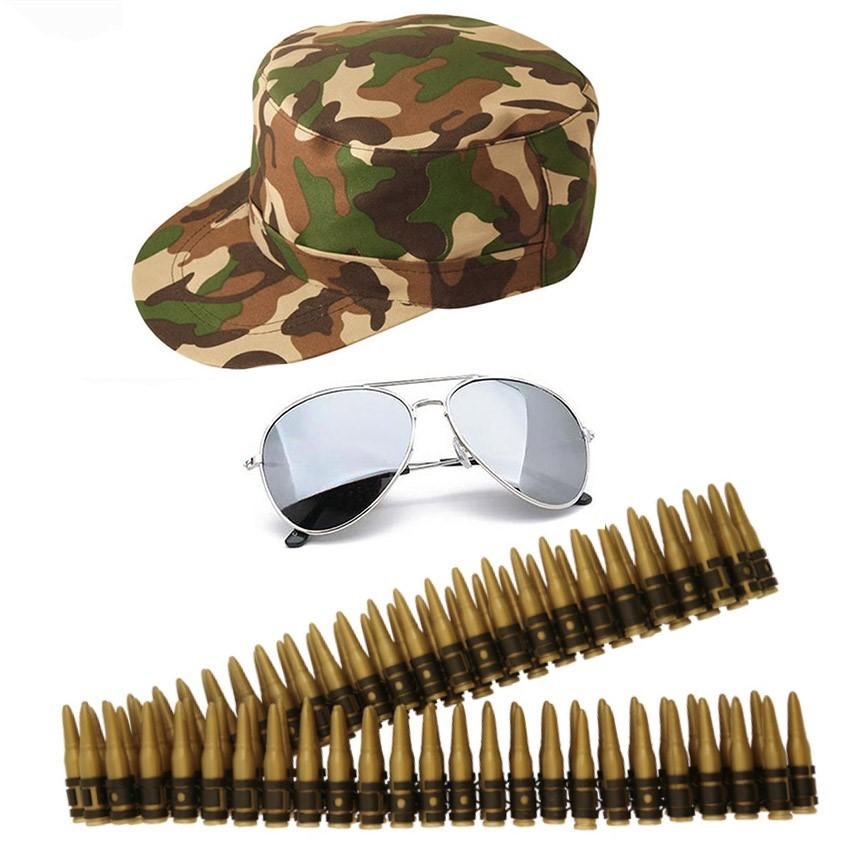army fancy dress camouflage bullet belt hat aviators mens
